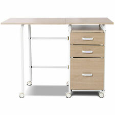 Folding Computer Laptop Desk Wheeled Home Office Furniture W/ 3 Drawers