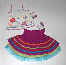 NWT Deux Par Deux Organza Floral White Ruffle Tank~Purple Ruffle Skirt Set Sz 4