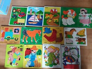 Lot of 13 Vintage Playskool Wooden Puzzles