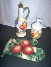 HOME china 3 pcs, oil jug, mitt, soap disp, fruit pattern,