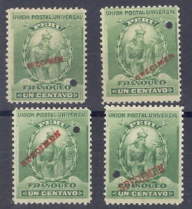 Peru 1898, 1c Capac, American Bank Note Co. SPECIMEN ovpt. FOUR different #142