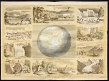 Rare 1853ca - Géographie physique - Planche encyclopédique, scolaire, affiche