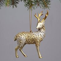 "Snowy Grove GOLD & SILVER REINDEER Christmas Ornament, 5.5"" Tall, by Enesco"