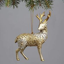 """Snowy Grove GOLD & SILVER REINDEER Christmas Ornament, 5.5"""" Tall, by Enesco"""