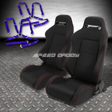 2X TYPE-R BLACK CANVAS RECLINABLE RACING SEAT+4-POINT BLUE HARNESS CAMLOCK BELT