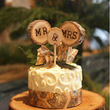 3PCS Chic wooden wedding cake with simple retro style for husband and wife