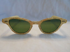 Rare Glamorous Cat Eye Sunglasses Mid Century Modern Gold Copper Sparkle Fleck