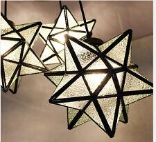3 Tête Lampe suspendue fixiture clair verre en cristal étoile lustre fer