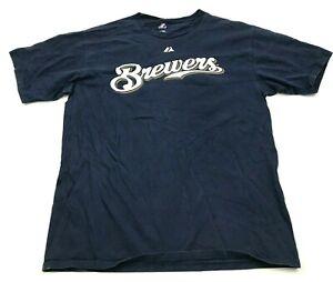 Majestic Trevor Hoffman Milwaukee Brewers Shirt Large Short Sleeve MLB Baseball