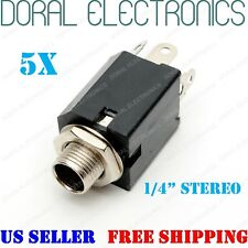 "5 PCS 1/4"" 6.3mm Stereo Female Chassis Mount Connector Audio Phone Jack"