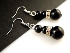 1 Natural Pair of Black Agate Gemstone & Rhinestone Dangle Earrings - #264