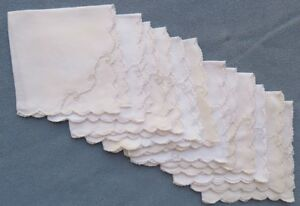 Set of Twelve Marghab Simplicity Embroidered Table Napkins Excellent Condition