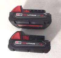 2 Pack Milwaukee 48-11-1815 M18 18V 18 Volt Red Lithium Ion Battery 1.5Ah