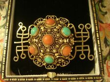 Beautiful Antique Art Deco: Coral & Turquoise Gems Set Gold Gilded Silver Brooch