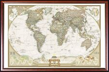 EXECUTIVE PUSH PIN WORLD MAP by NATIONAL GEOGRAPHIC FRAMED (Walnut Gold Frame)