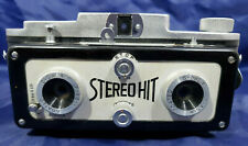 TOUGODO STEREO HIT 3D 127 ROLL FILM 3X4CM CAMERA + case. 2 red windows. RARE