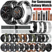 For Samsung Gear S3 S2 Galaxy Watch 46mm 42mm Stainless Steel Leather Strap Band