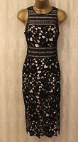 Karen Millen All Over Floral Lace Black Pencil Cocktail Party Dress DA089 10 38