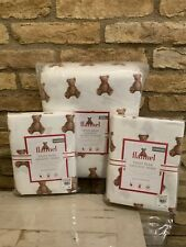 Pottery Barn Kids FULL QUEEN Duvet Teddy Bear 2 Shams Christmas Organic Flannel