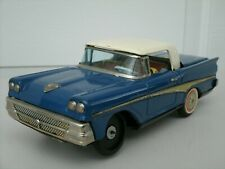 Vintage Japan Tin Nomura 1950's Ford Retractable Top Battery Powered Car