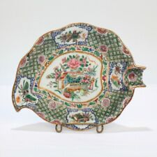 Antique Famille Verte Chinese Export Porcelain Leaf Shape Spoon Plate - Pc