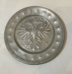 rare antique 1634 17th century engraved hand forged pewter eagle dinner plate