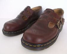 Vtg Doc Dr Martens Mary Janes Shoes Burgundy Double Twin Strap England US 5