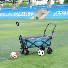 More details for folding wagon pull & push cart trolley garden camping festival sports light blue