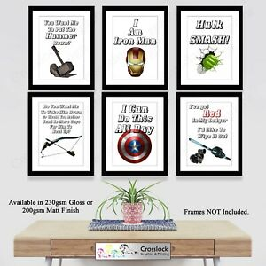 Avengers Hero Quote Poster Prints ONLY A4 Size Thor Hulk Iron Man Movies Marvel
