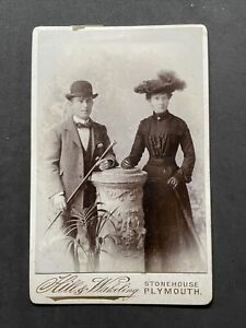 Victorian Cabinet Card: Well Dressed Young Couple: Hill Wakeling Plymouth