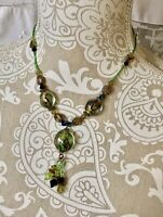 ⭐️Vintage Kole Green Black Glass Acrylic Beaded Lavaliere Necklace, Fits 16-19""