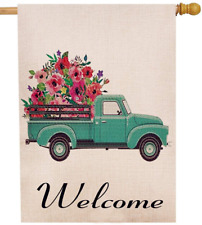 Selmad Summer Flower Truck 28 x 40 House Flag Decorative Farmhouse Décor Spri.