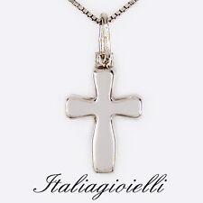 Collana Croce Donna / Uomo in Argento 925 rodiato Oro Bianco°
