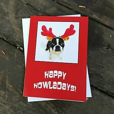 Cute Boston Terrier Christmas Card Holiday Dog Greeting Card