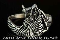925 Silber Totenkopfring Skull Sensenmann Reaper Tot Biker Ring Herren Geschenk