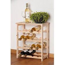 16 Bottles Wood Wine Rack Floor Standing Natural Wood Home Bar Display Shelf New