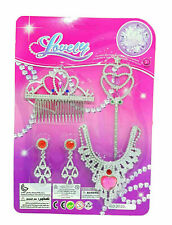 Kids Girls Role Play Princess Beauty Earring Necklace Jewelry Set