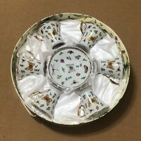 Gift Plus Fine Porcelain Coffee Tea Set of 6 Cups White Gold Butterfly Flowers