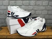 FILA MENS UK 7 EU 41 WHITE MINDBLOWER LEATHER RETRO TRAINERS