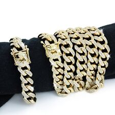 Mens Cuban Miami Link Bracelet & Chain Set  14k Gold Plated 26ct VVS Diamonds