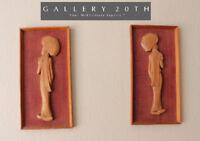 PAIR! UMBRELLA GIRLS MID CENTURY MODERN TEAK JAPAN WALL ART! VTG 1950'S TEXTILE