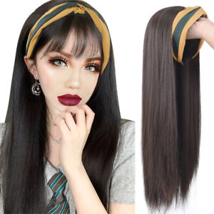 Wig Clip On Wig with Headband Cap With Hair Fake Hair Hat Wig Long Straight