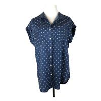 Jach's Girlfriend Size M Button-Front Short Sleeve Shirt Blue Printed Tencel