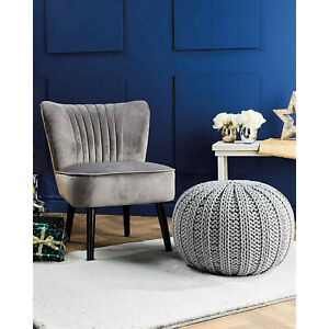 Kirkton House Luxury Velvet Accent Chair Grey Padded Armchair Lounge Living Room
