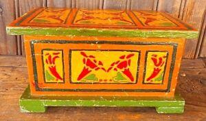 Vibrant Vintage Trinket Box Folk Art Hand Painted Wooden Green Yellow Red