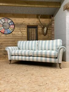 Arlo & Jacob Helena 3str sofa Large blue stripe linen Art Deco Country homes