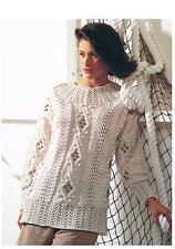 "Ladies Aran Lace Bobble Sweater/Jumper Knitting Pattern PATTERN ONLY 32-42"" w40"