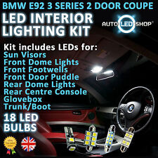 BMW E92 3 SERIES COUPE LED INTERIOR aggiornamento completato Kit Set Lampadina Xenon Bianco