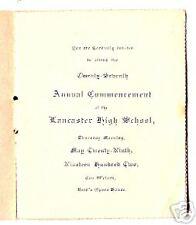 1902 Wis Lancaster High School Commencement Program