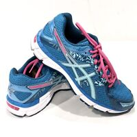 Asics Womens Gel Excite 3 T5B9N Round Toe Lace Up Blue Running Shoes Size 8 1/2